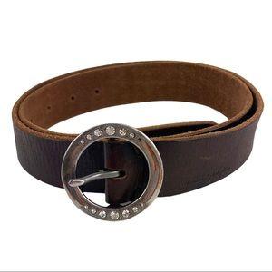 American Eagle Brown Leather Belt Embellished M
